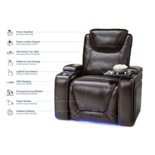 Load image into Gallery viewer, Storage seatcraft equinox home theater seating leather power recliner adjustable power headrest adjustable powered lumbar support usb charging storage soundshaker lighted cup holders brown
