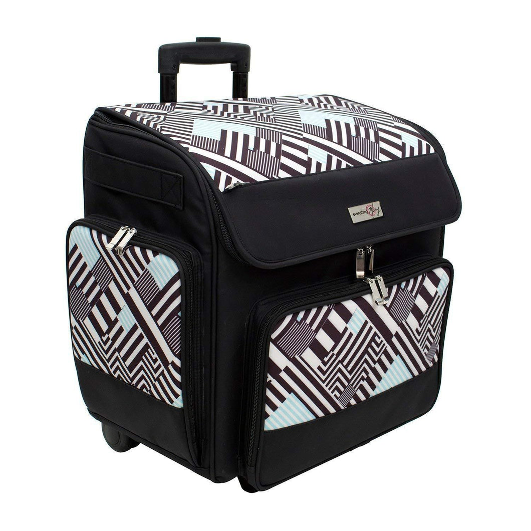Exclusive everything mary wit deluxe teal geometric rolling organizer papercrafting storage tote for paper binder tools scissors stamps telescoping handle with dual wheels craft case