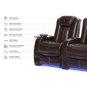 Buy now seatcraft delta home theater seating leather power recline powered headrests and built in soundshaker row of 4 center loveseat brown