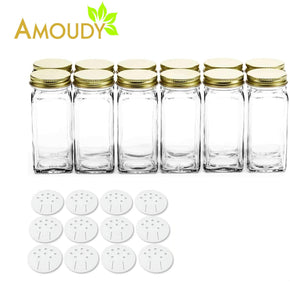 Home 12 square clear glass bottles containers jars 4oz with gold metal lids and shaker tops empty organizer set deluxe decorative modern spices seasoning food crafts gifts