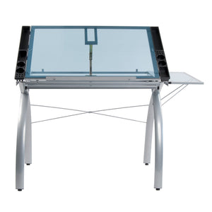 Save sd studio designs futura craft station w folding shelf top adjustable drafting table craft table drawing desk hobby table writing desk studio desk w drawers 35 5w x 23 75d silver blue glass