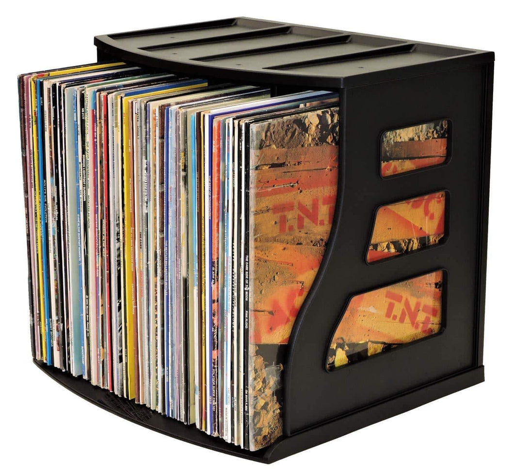 Save on vinyl record storage crate lp album holder holds over 70 records lever arch shelf office desktop organizer ring binder stand craft scrapbook paper rack cube box stackable binder way brand