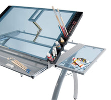 Load image into Gallery viewer, Related sd studio designs futura craft station w folding shelf top adjustable drafting table craft table drawing desk hobby table writing desk studio desk w drawers 35 5w x 23 75d silver blue glass