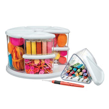 Load image into Gallery viewer, Select nice deflecto rotating carousel craft storage organizer 9 canister configuration includes 3 and 6 canisters removable clear white lids 3901cr