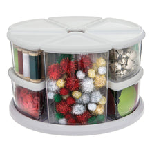 Load image into Gallery viewer, Purchase deflecto rotating carousel craft storage organizer 9 canister configuration includes 3 and 6 canisters removable clear white lids 3901cr