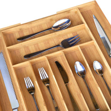 Load image into Gallery viewer, Exclusive bamboo kitchen drawer organizer expandable silverware organizer utensil holder and cutlery tray with grooved drawer dividers for flatware and kitchen utensils by royal craft wood
