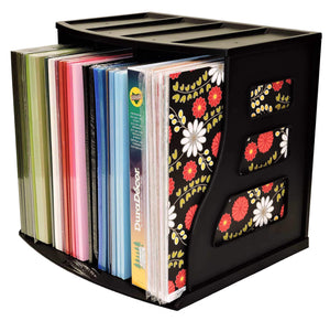 Shop vinyl record storage crate lp album holder holds over 70 records lever arch shelf office desktop organizer ring binder stand craft scrapbook paper rack cube box stackable binder way brand