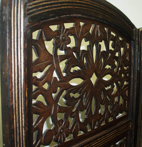 Shop rajasthan antique brown 4 panel handcrafted wood room divider screen 72x80 intricately carved on both sides reversible hides clutter adds decor divides the room antique brown rajasthan