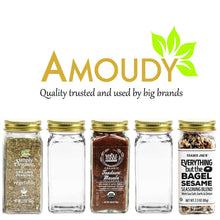 Load image into Gallery viewer, Order now 12 square clear glass bottles containers jars 4oz with gold metal lids and shaker tops empty organizer set deluxe decorative modern spices seasoning food crafts gifts