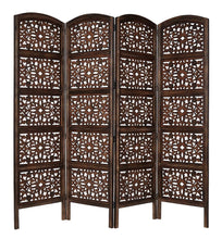 Load image into Gallery viewer, Selection rajasthan antique brown 4 panel handcrafted wood room divider screen 72x80 intricately carved on both sides reversible hides clutter adds decor divides the room antique brown rajasthan