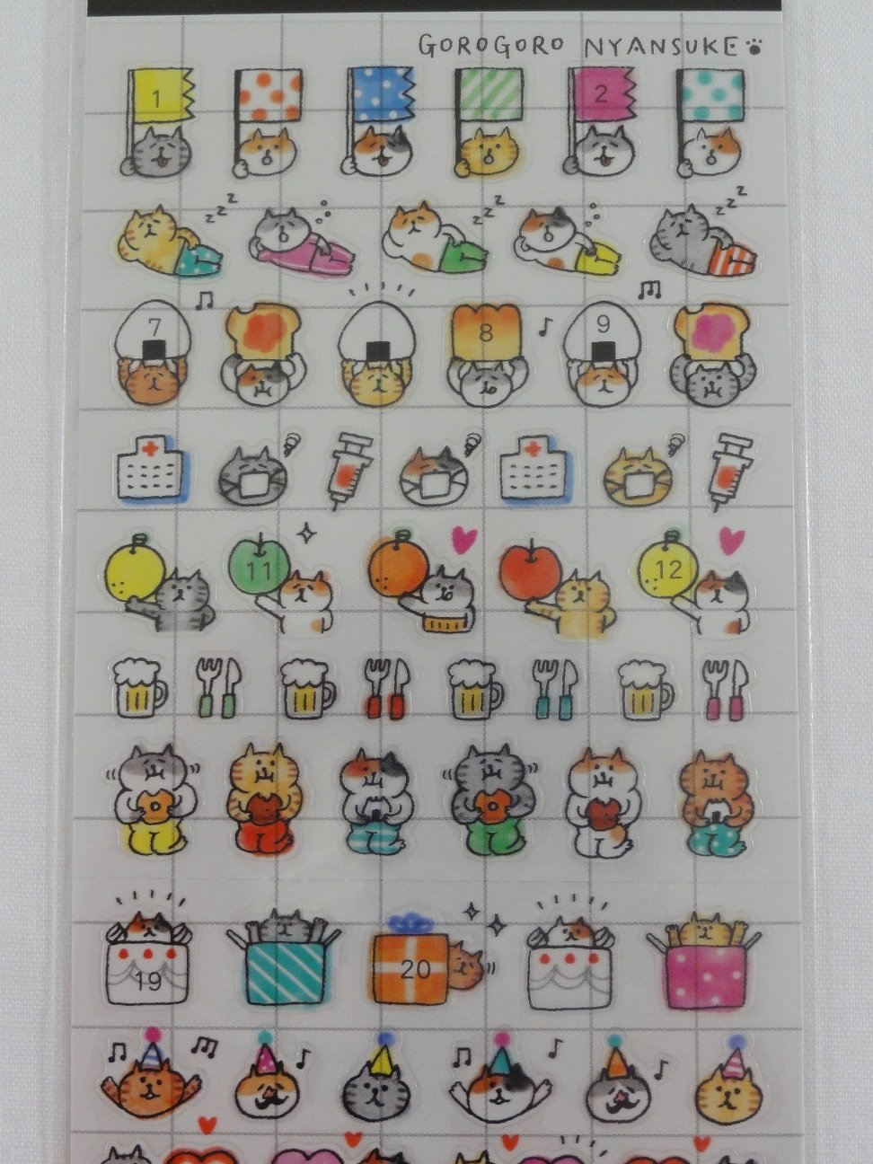 Cute Kawaii Mind Wave Cat Schedule Sticker Sheet - for Journal Planner Craft Organizer