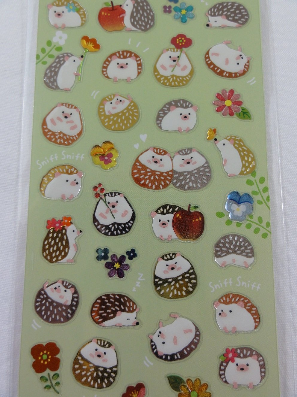 Cute Kawaii Mind Wave Hedgehog Sticker Sheet - for Journal Planner Craft Organizer Scrapbook Notebook