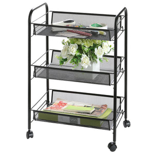3 Tier Black Rolling Mesh Metal Storage Cart, Office Supplies and Craft Organizer Rack, 25.5 X 17.5 Inch (SHOMHNK004)