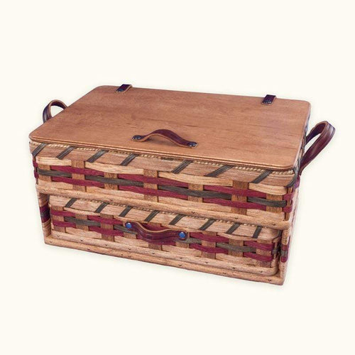 Gingerich Family Large Amish Sewing and Craft Basket Organizer Box with Drawer