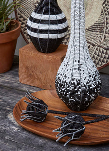 Set of 3 Black & white beaded decorative vases