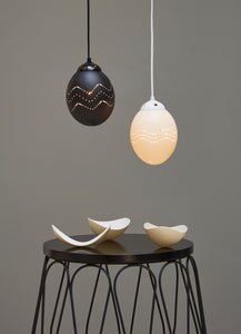 Black ostrich eggshell pendant light