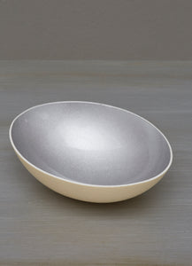 Glazed grey decorative eggshell bowl