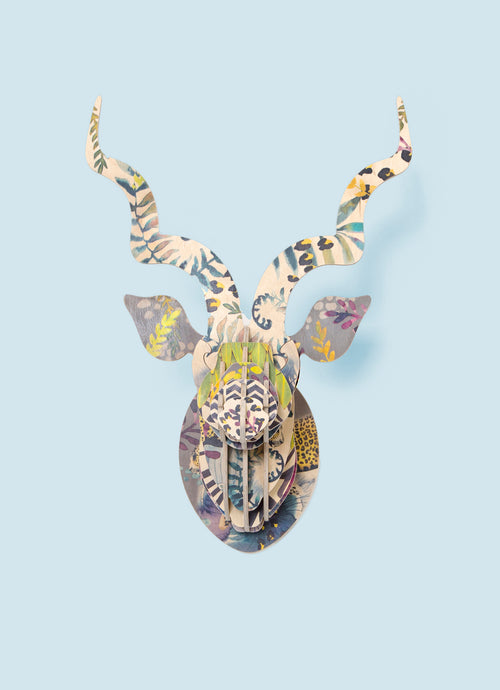 Kudu with Artist Leopard Print wall mount