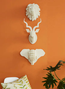 Small rhino head in paperboard wall mount