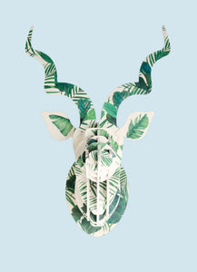 Kudu with luscious leaf print wall mount