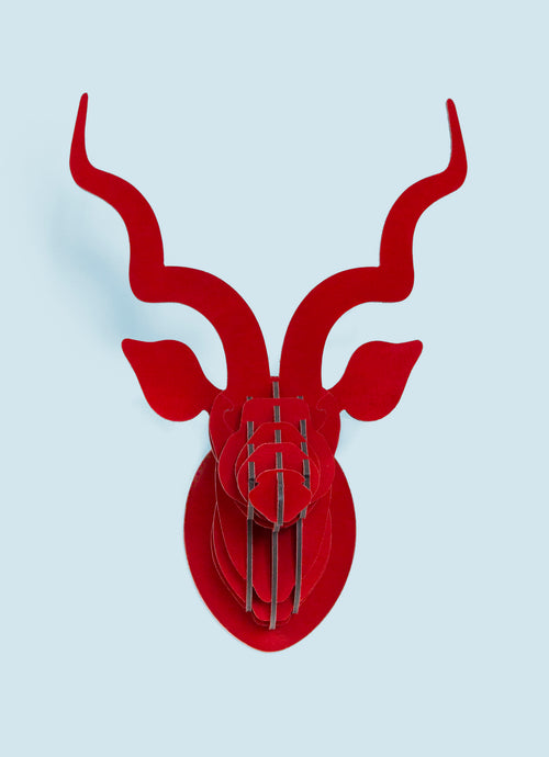 Kudu in red suede wall mount