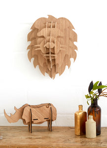 Lion Head in Bamboo wall mount