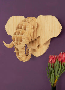 Elephant Head in Bamboo wall mount