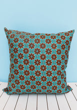 Load image into Gallery viewer, Choose from various turquoise & brown Java African wax print scatter cushions