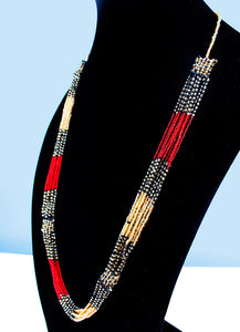 Red and yellow Maasai handstrung beaded necklace