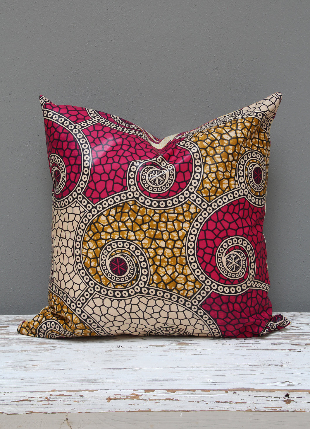 Shocking pink Java African wax print scatter cushion