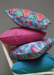 Pink, green & blue Java African wax print scatter cushion