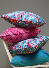 Load image into Gallery viewer, Turquoise, pink and green African Shweshwe scatter cushion
