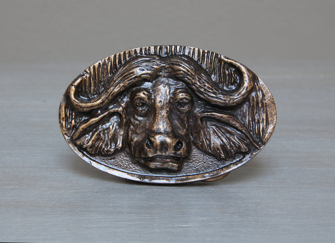 Brass African buffalo belt buckle