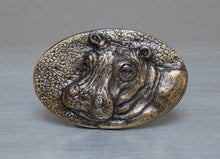 Load image into Gallery viewer, Brass African hippo belt buckle