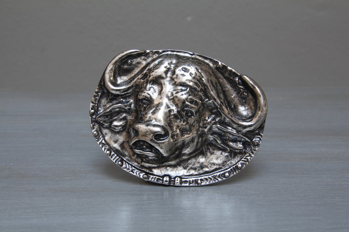 Brass or antique nickel African buffalo belt buckle