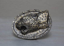 Load image into Gallery viewer, Brass  African leopard belt buckle