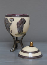 Load image into Gallery viewer, Decoupage Leopard & map ostrich eggshell jewelry box