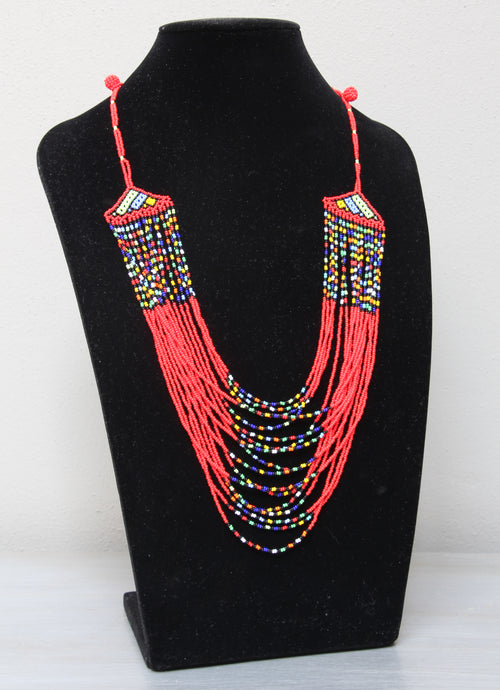 Maasai multi-colour multi-stringed necklace