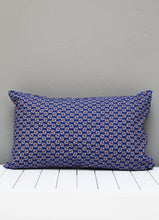 Load image into Gallery viewer, Navy blue African Shweshwe scatter cushion