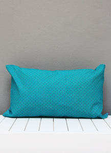 Turquoise, pink and green African Shweshwe scatter cushion