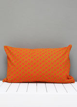 Load image into Gallery viewer, Orange and green Shweshwe scatter cushion