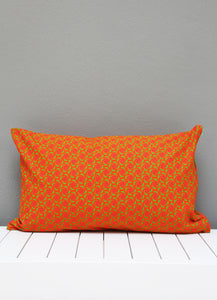 Orange and green Shweshwe scatter cushion