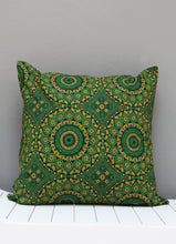 Load image into Gallery viewer, Green and yellow Shweshwe African scatter cushion