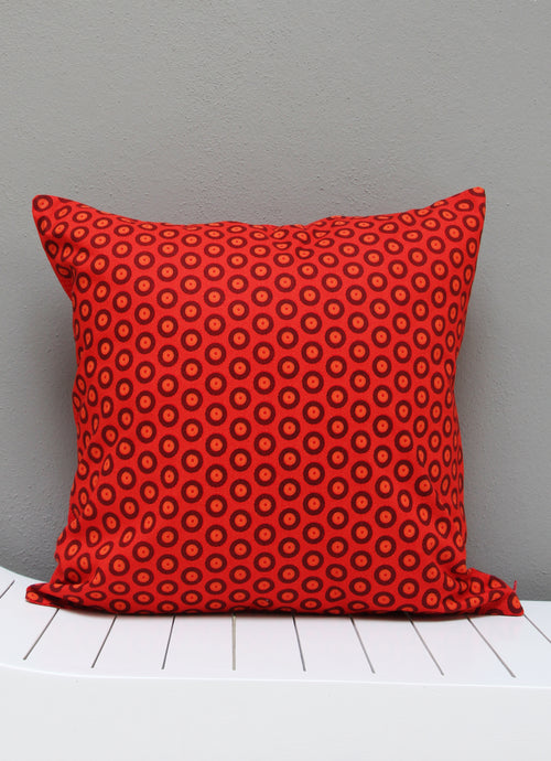 Red and black Shweshwe scatter cushion