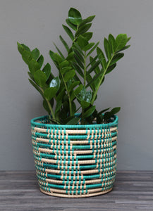 African turquoise and natural storage basket