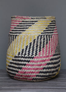 Geometric pink, black and yellow basket