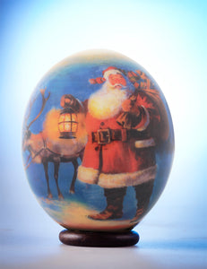 Father Christmas decoupage egg