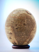 Load image into Gallery viewer, Decoupage elephant and map ostrich egg
