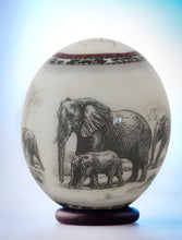 Load image into Gallery viewer, Decoupage elephant herd ostrich egg