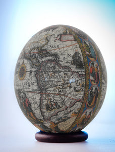 Decoupage world map ostrich egg